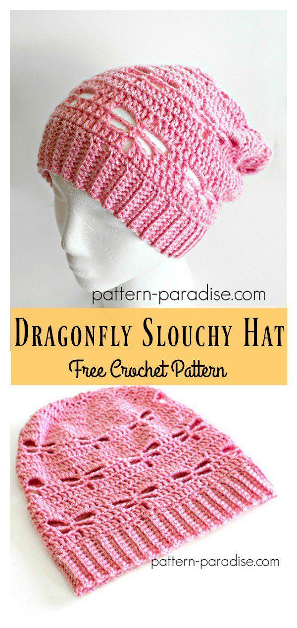 Dragonfly Stitch Slouchy Hat Free Crochet Pattern | Gorros, Tejido y ...