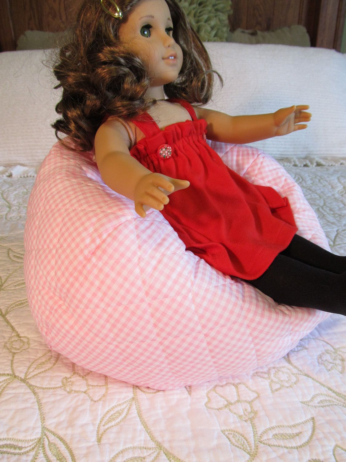 """Doll Bean Bag for 18"""" Doll and Bitty Baby. $18.00, via Etsy."""