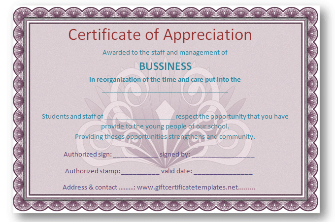 Employee Certificate Of Appreciation Template   Certificate Templates