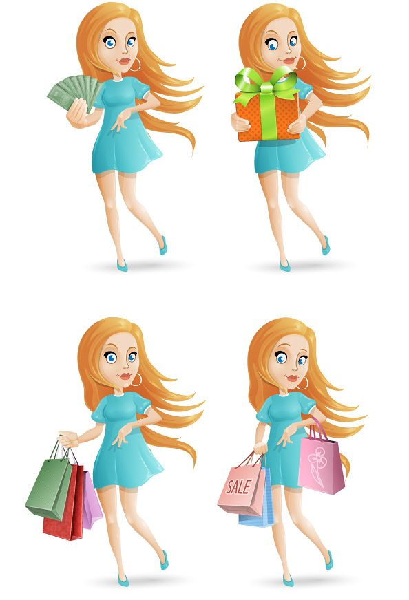 Free shopping girl vector character set containing 4 different poses