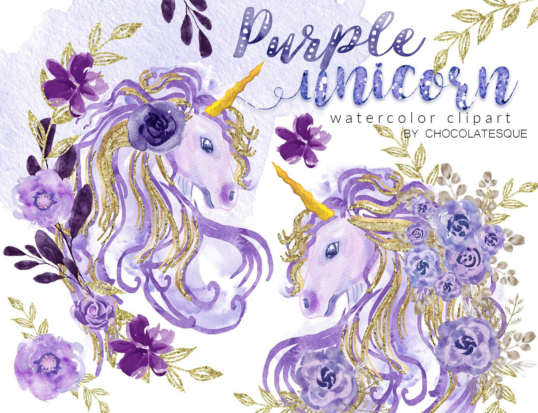 Unicorn Clipart Spring Clipart Watercolor Unicorn Lilac Clipart Violet Cute Unicorn lavender Hand painted  Floral  Watercolor Flowers