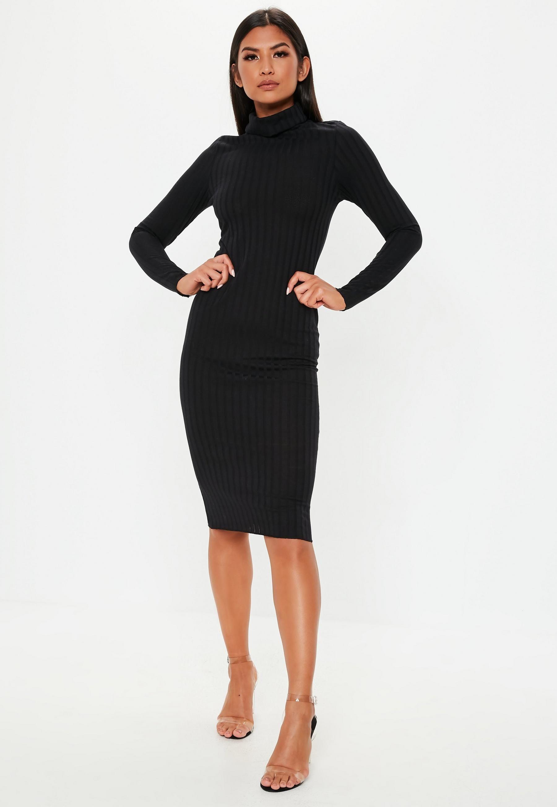 929dbce3d81 Black Ribbed Roll Neck Lettuce Hem Midi Dress in 2019