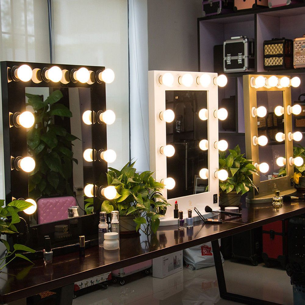 Blk White Vanity Lighted Hollywood Makeup Mirror With Dimmer Stage