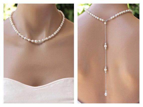 Pearl zurück Drop Halskette mit Swarovski Perlen, Kristallen und Perlen  Akzente dient der eine elegante Braut Halskette zu erstellen. 3bfa76f91f