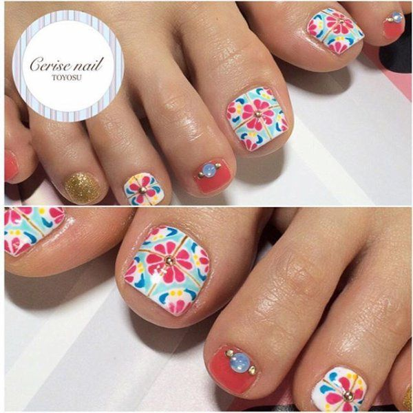 mosaic tile design | nails!! | Pinterest | Uñas pies, Diseño uñas ...