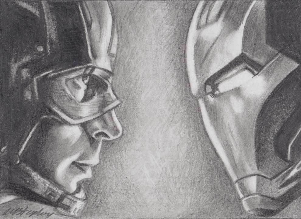 Original Pencil Aceo Sketch Card Captain America Vs Iron Man Marvel Drawings Iron Man Drawing Avengers Drawings
