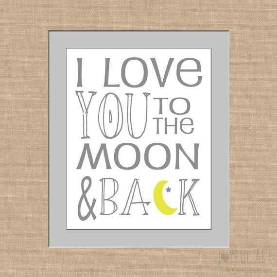 I Love You To The Moon And Back Subway Art Children S Printable 8x10 Or 11x14 Digital File Wall 7 00