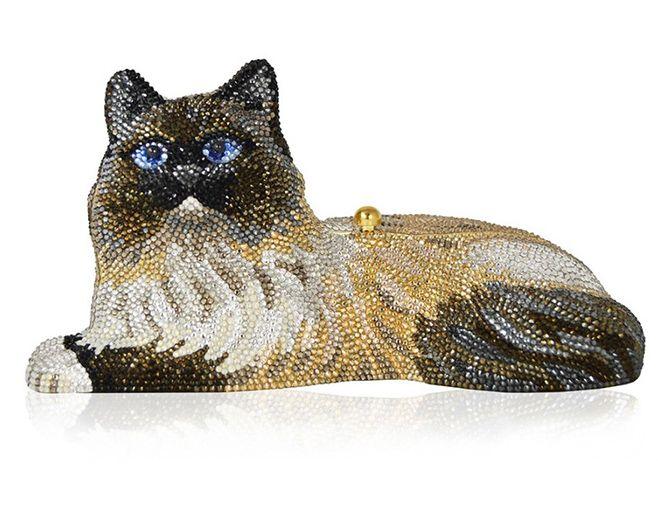 Judith Leiber Jinx Cat Crystal Hard Clutch Bag H14Gb45AWy