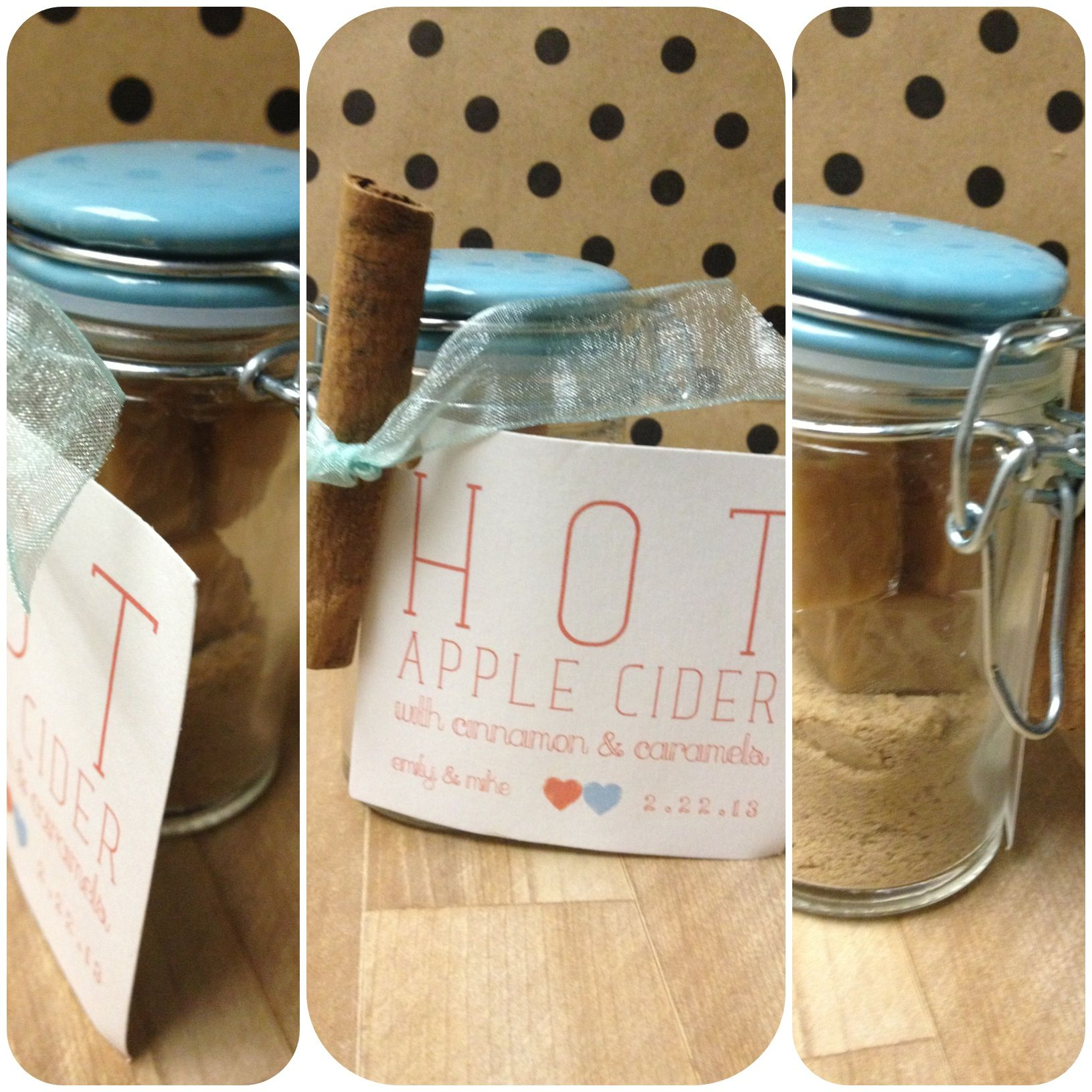Wedding favor - hot apple cider kits (w caramels and cinnamon), in ...
