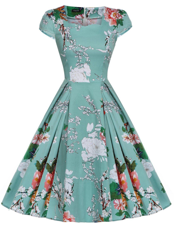 Amazon.com: ACEVOG Women\'s Retro 1950s Cap Sleeve Swing Vintage ...