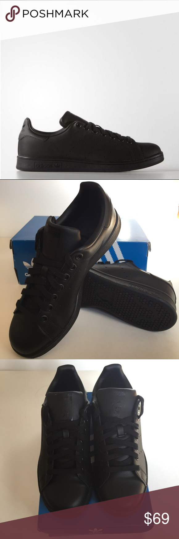 170b7182168 Adidas All Black Stan Smiths M20327 Sz 6.5 (~39.3) Brand New with Tags.  Smooth look. Full grain leather upper with perforated 3 stripes and tonal  upper ...