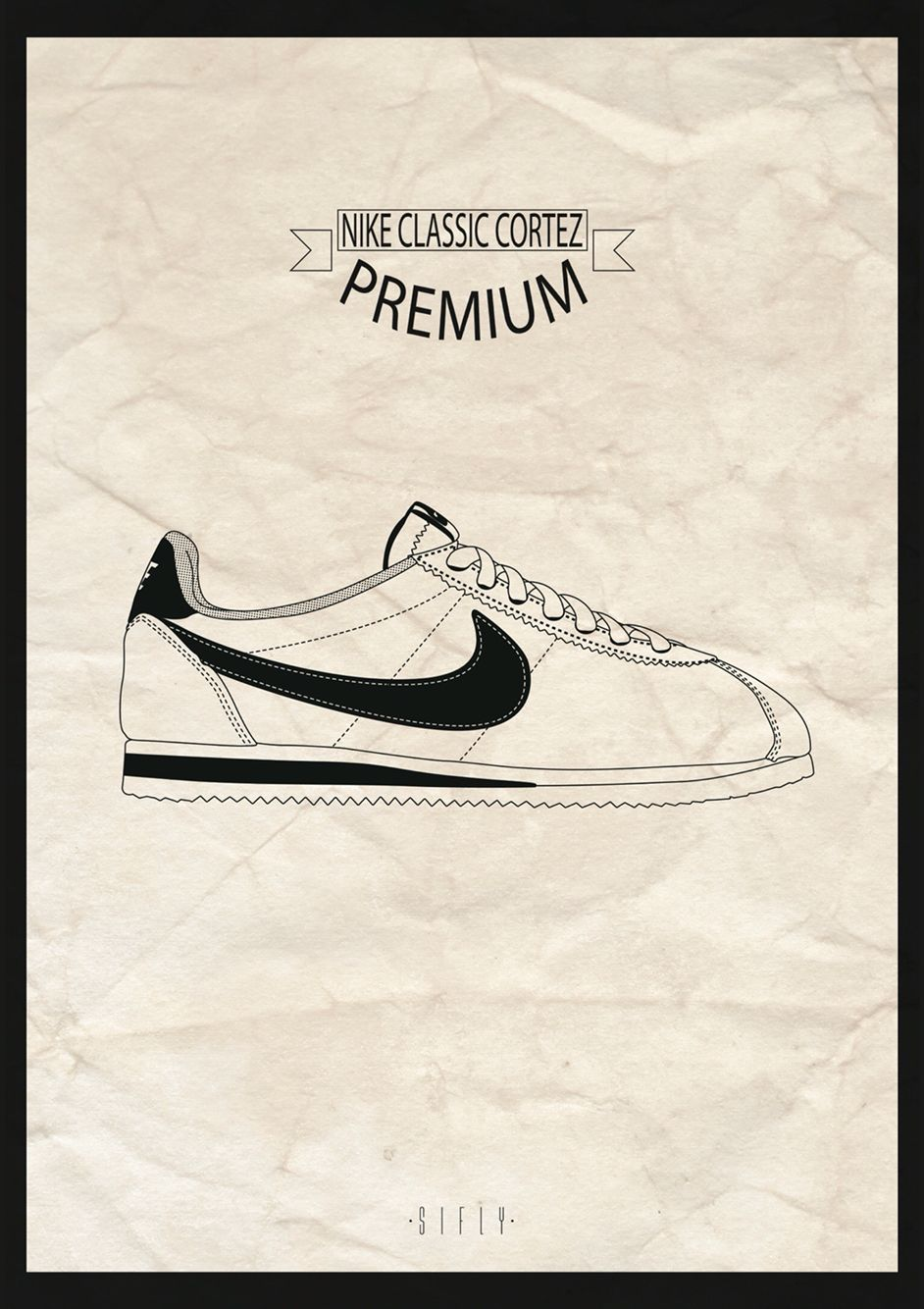 nike shoes drawings. nike classic cortez premium - illustration vector by sifly nike shoes drawings