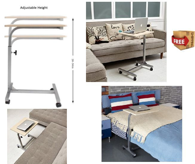 Hospital Over Bed Table Rolling Desk Top Laptop Food Tray