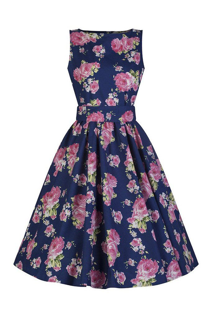 Navy Blue and Pink Floral Audrey Swing Dress | Vestiditos