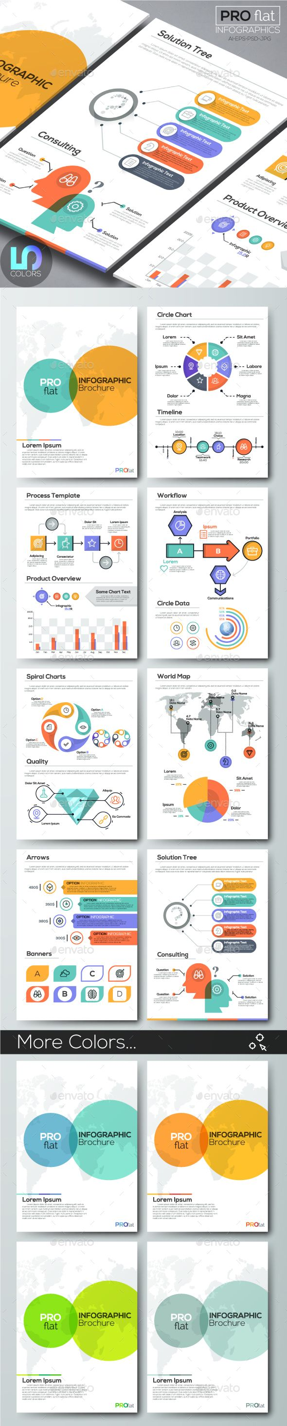 Pro Flat Infographic Brochure Set Colors Color Photoshop - Infographic brochure template
