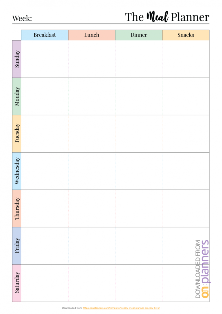 Download Printable Colorful Weekly Meal Planner With