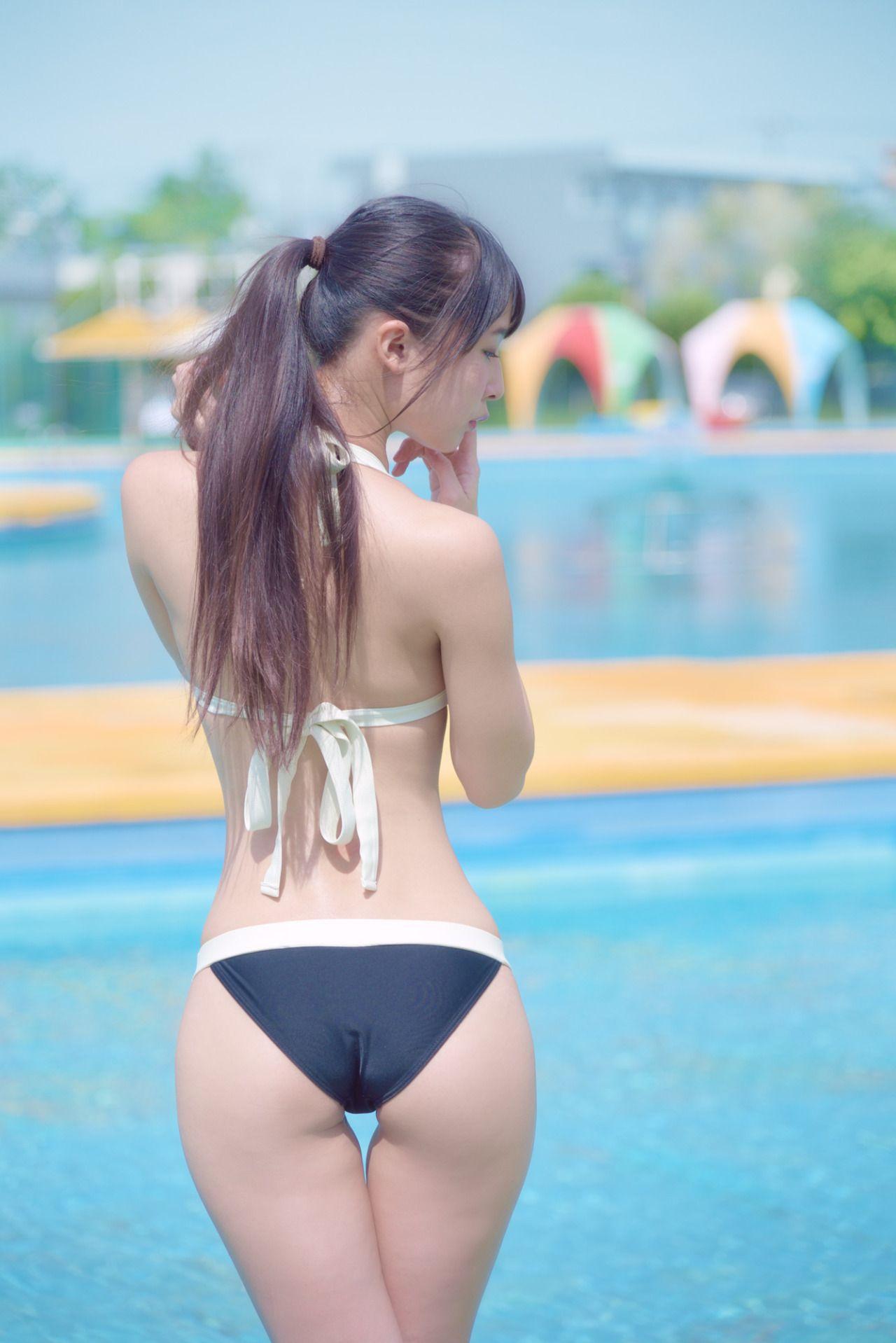 women bridge Asian bikini