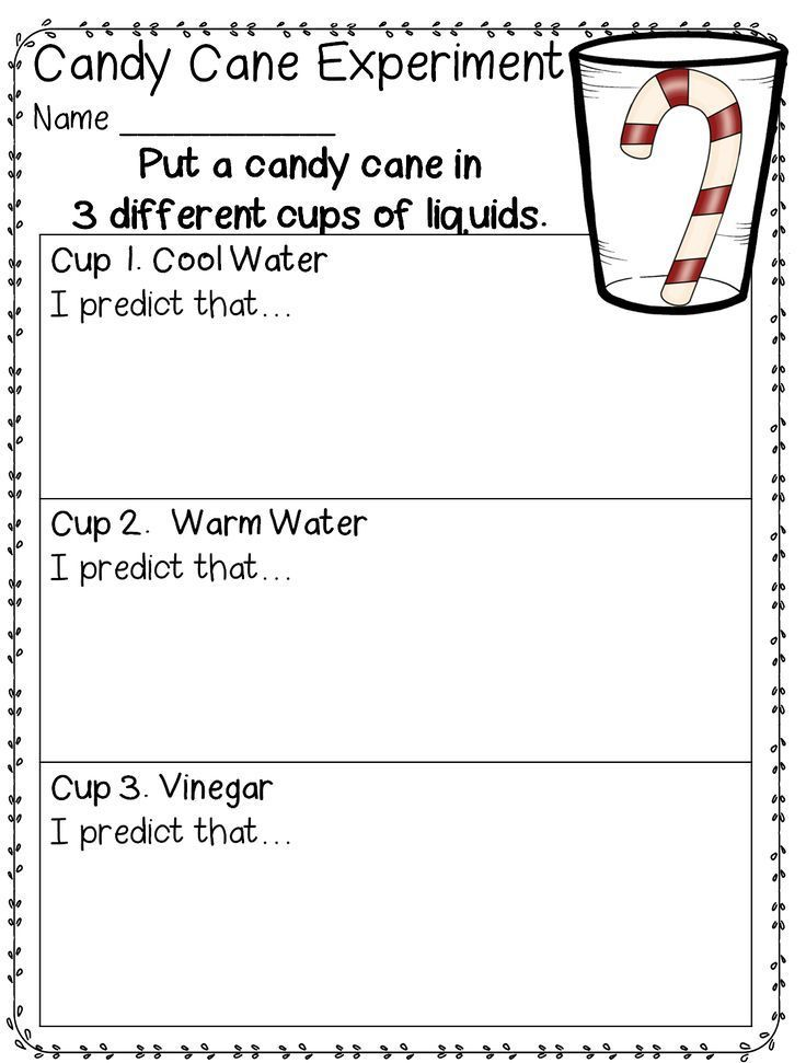 Candy Cane Experiment free from First Grade Wow – First Grade Fun Worksheets