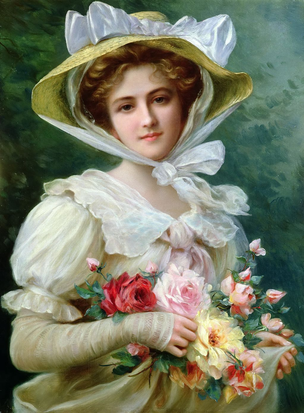 EMILE VERNON (french, 1872-1919) -Elegant lady with a bouquet of roses