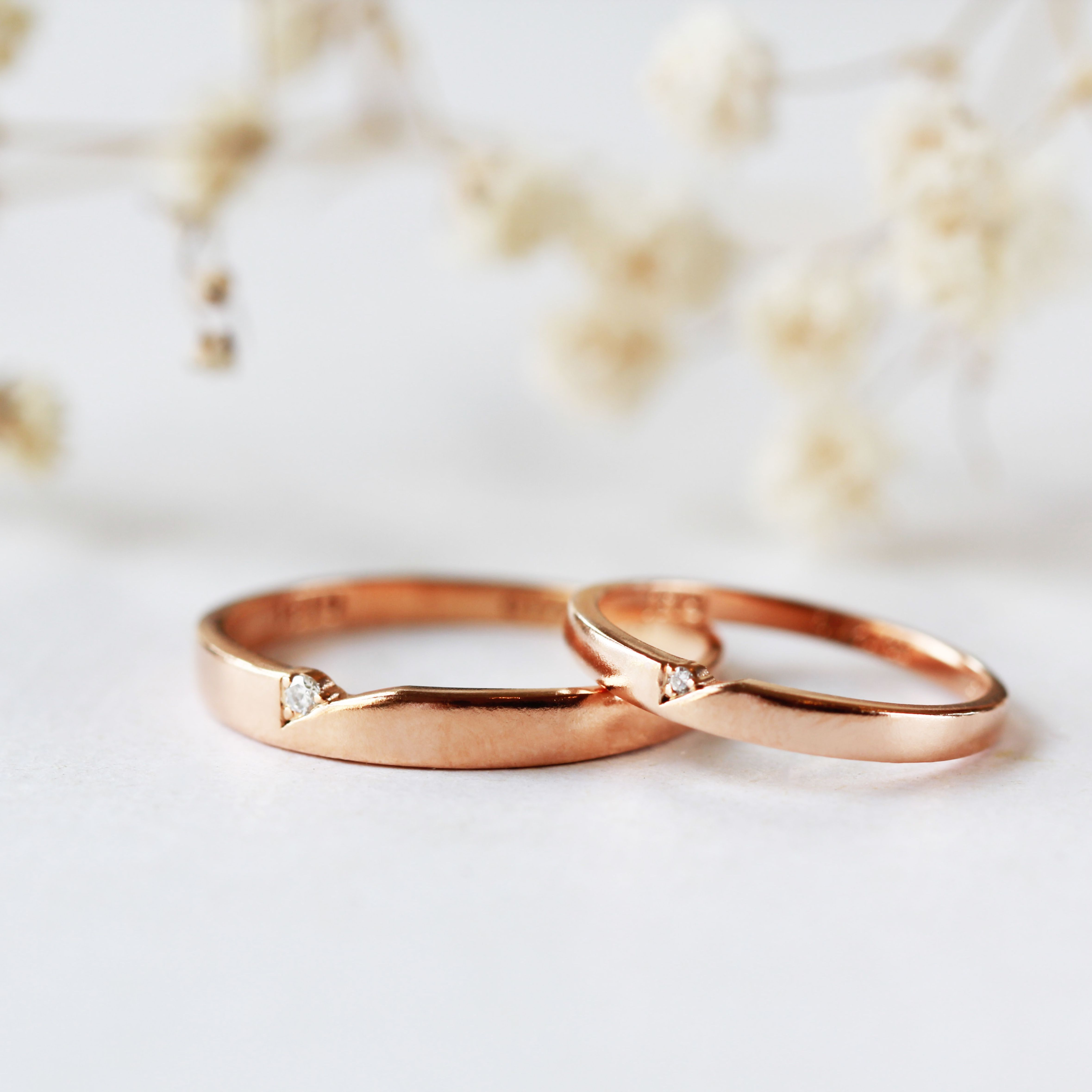 Modern Couple Ring Couples Ring Wedding Band Unique Wedding Rings Promise Ring 14k Rose Gold Wedd Couple Wedding Rings Wedding Rings Rose Gold Couples Ring Set