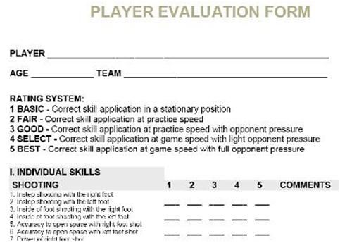 soccer player evaluation form - Google Search soccer Pinterest - trainer evaluation form