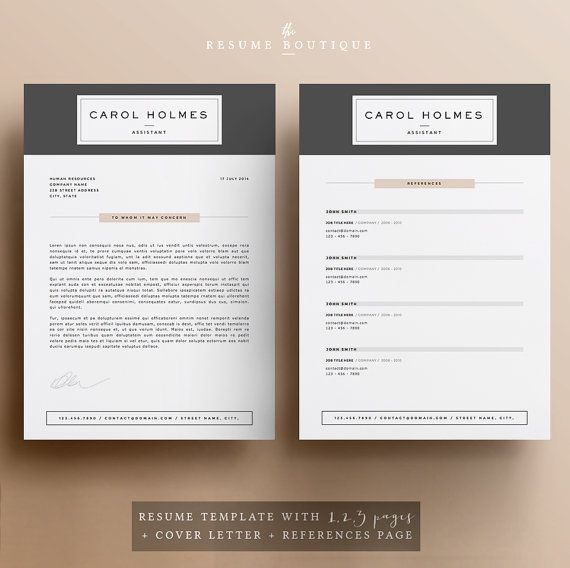5 page Resume Template and Cover Letter by TheResumeBoutique