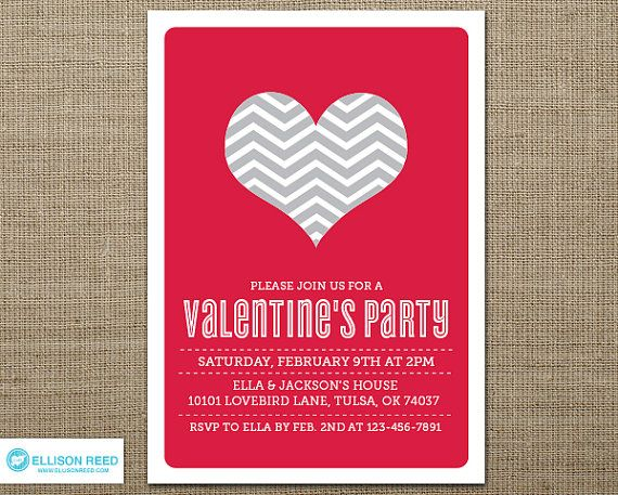 ValentineS Party Invitation Valentines Day Heart By Ellisonreed