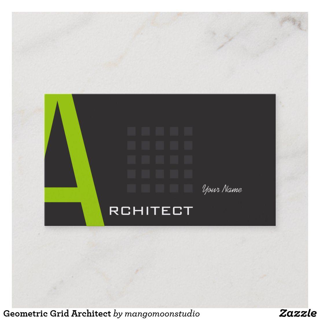 Geometric Grid Architect Business Card Zazzle Com Grid Architects Construction Business Cards Business Card Modern