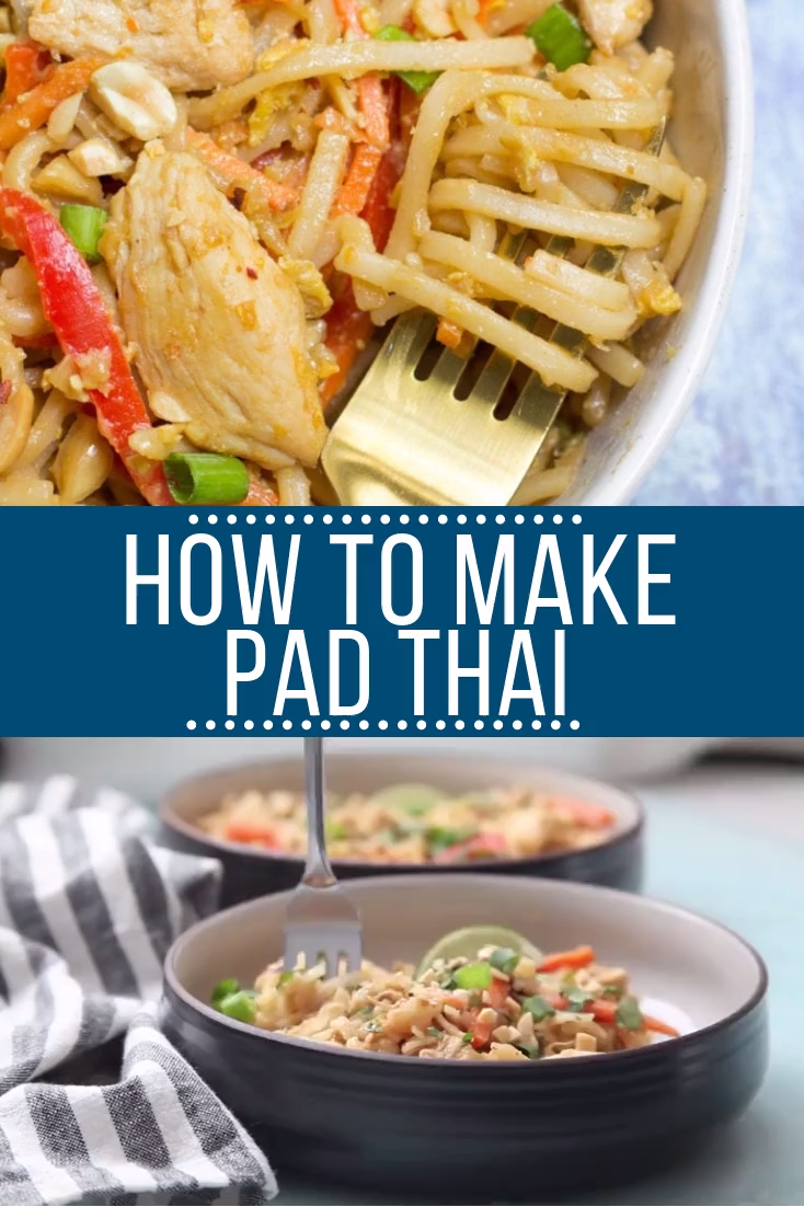Healthy Chicken Pad Thai Video Recipe Video Chicken Pad Thai Healthy Thai Recipes Pad Thai