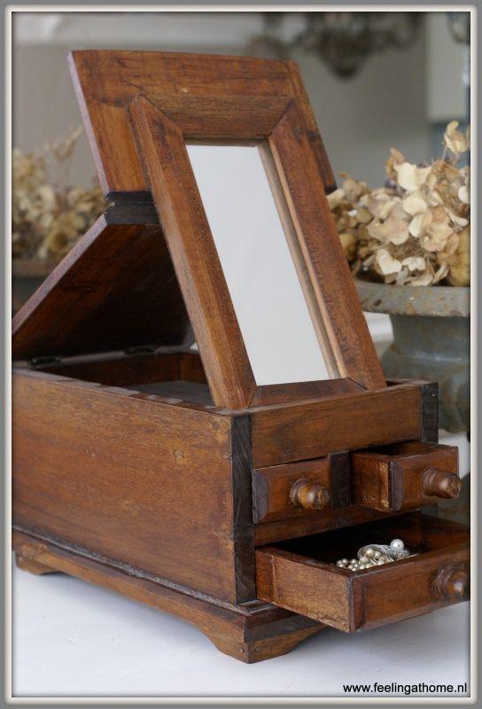 Antieke sieradendoos met spiegel | DOOSJES, BLIKKEN & BAKKEN | Feeling At Home