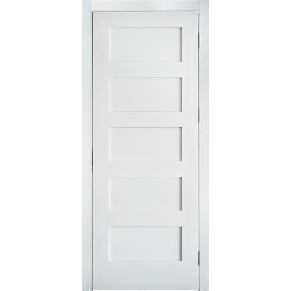 Krosswood Doors 30 In X 80 In Shaker 5 Panel Primed Solid Hybrid Core Mdf Left Hand Single Prehung Interior Door Kw Sh151 2668 Lh Shaker Style Interior Doors Shaker Interior Doors Prehung Interior Doors