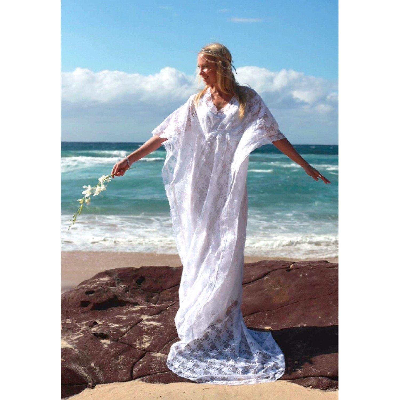 Gypsy Lace Beaded Train Bridal Kaftan, Beach Wedding Dress | Like A ...