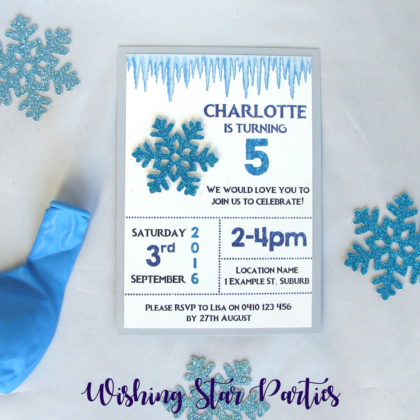 3D Frozen Inspired Snowflake Birthday Party Invitations | Party ...