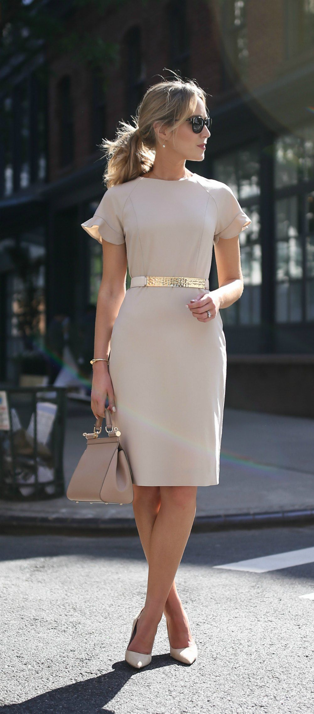 1d63b1cab1fc beige nude short sleeve sheath dress with flutter sleeves    hammered gold  nude accent waist belt    suede nude pointed toe pumps    classic work wear