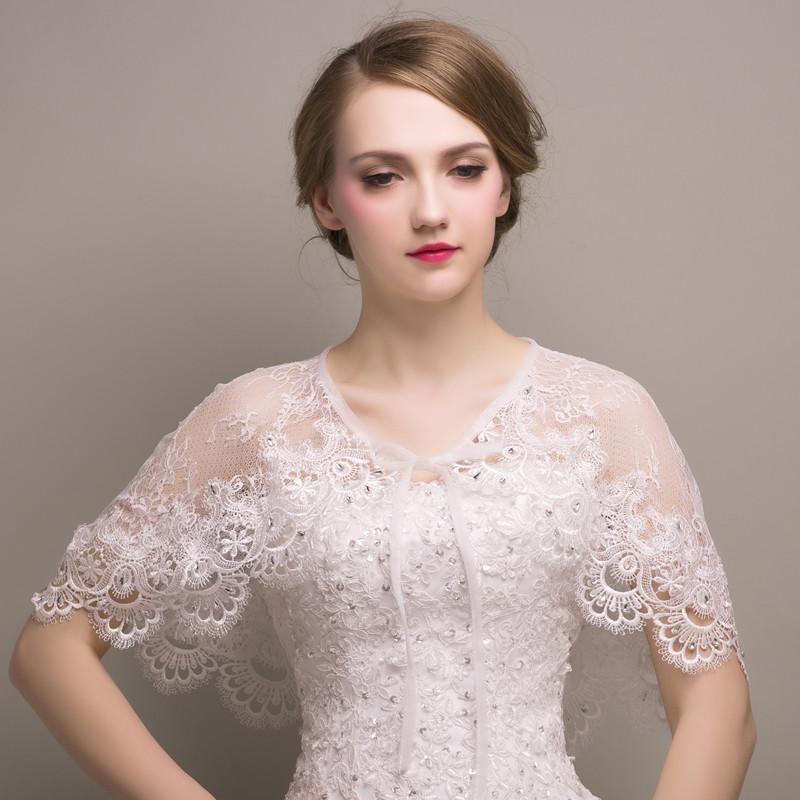 Details about Bridal Jacket Bolero Wedding Shawl Wraps Cape White/Ivory Shrug Lace Applique