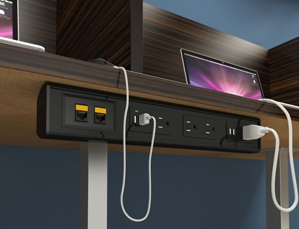 ECA SeclusionUT Under Table Mounted Box W Power Charging USB - Conference room table av box
