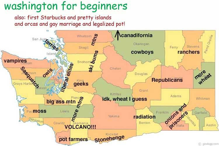 Washington State For Beginners Region By Region Map Of Quirks By