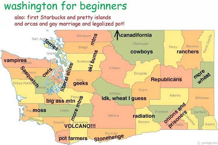 Washington State For Beginners Washington State Map Washington