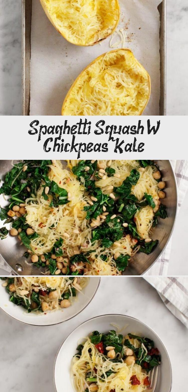 Spaghetti Squash W Chickpeas Kale Recipe Vegetarian Recipes