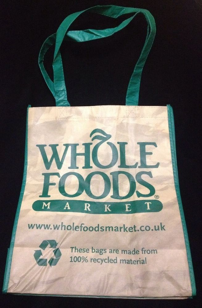 Whole Foods UK London Tote Bag New Brown Green Eco Reuse Recycle
