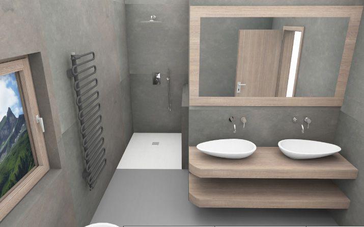 Badezimmer Planung mit Doppelwaschtischen und offener Dusche - badezimmer mit dusche