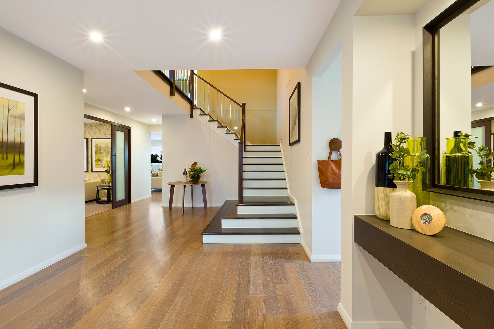 The WOW factor. A grand entry to welcome you home. #MojoHomes #HomeworldKellyville #staircase