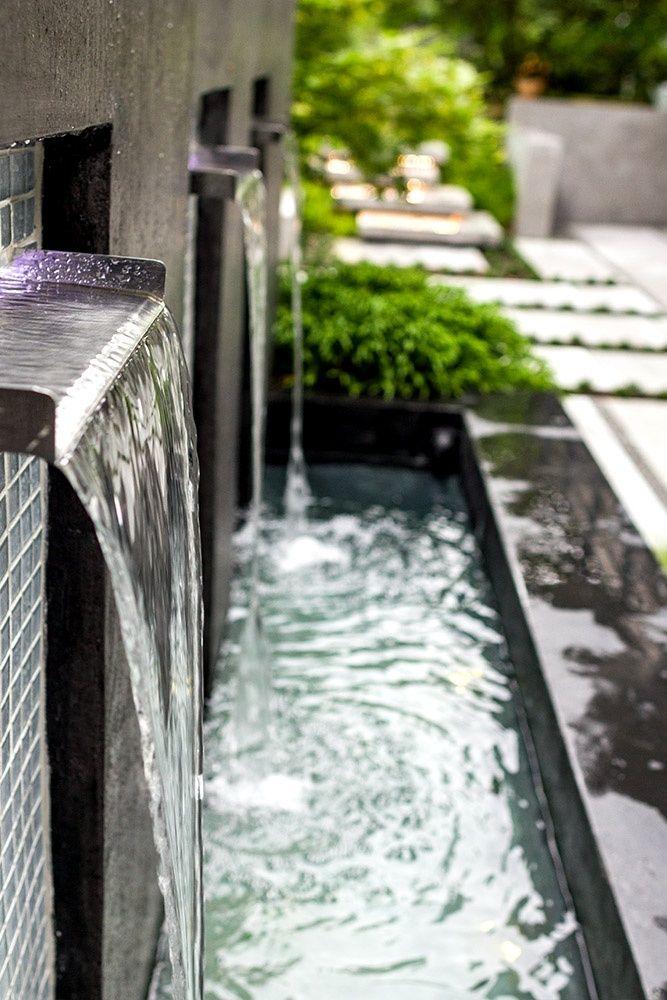 Wasserspiele Im Garten Edelstahl. brunnen wasserfall garten pool ...