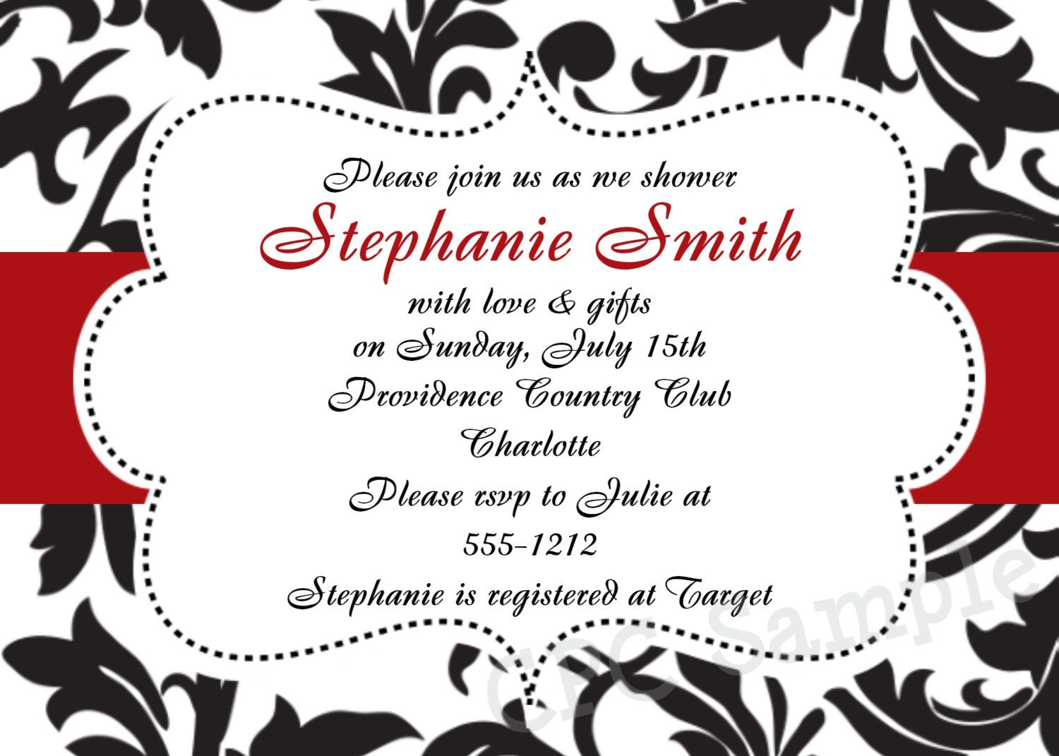 This elegant red and black bridal shower invitation makes a ...