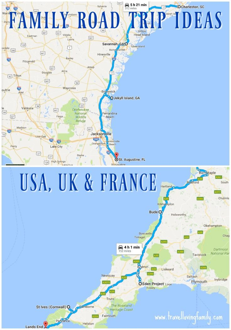 Family road trip ideas and sample road maps in the USA, UK & France, featuring Charleston in South Carolina to St Augustine in Florida, Devon to Cornwall and Nice to Saint Tropez, France.  The article highlights all the best family friendly attractions to visit along the way!