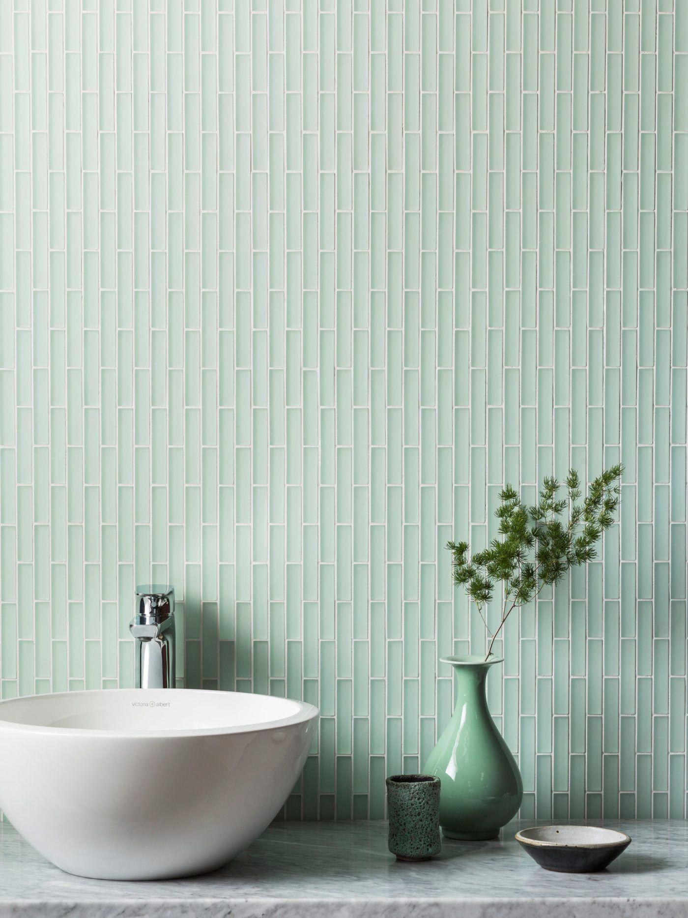 Modern washbasins | Green tile bathroom, Light green ...