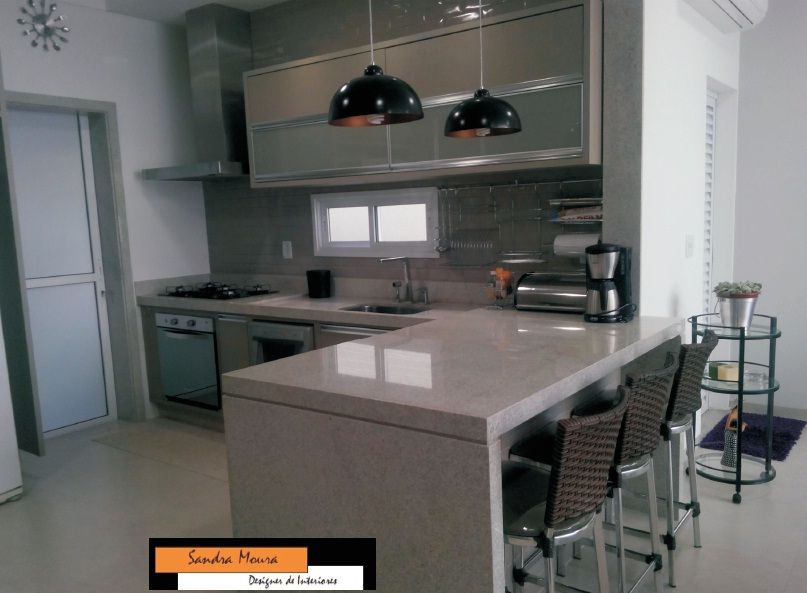 Cozinha Integrada Com Espaco Gourmet Armarios Cores Fendi Granito