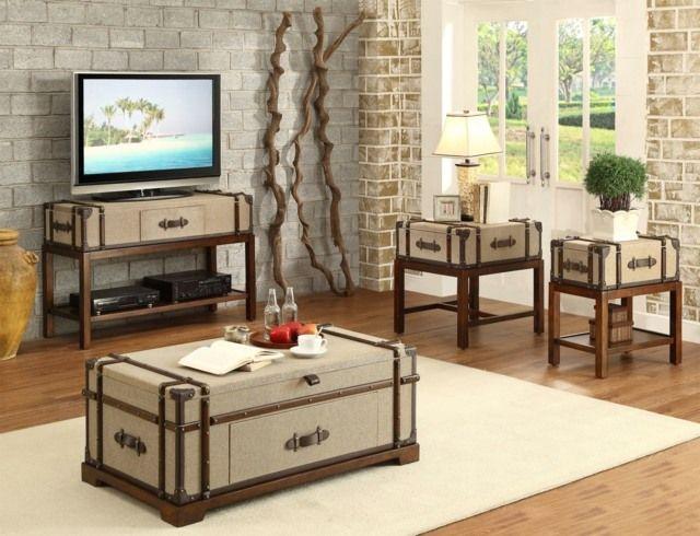 Koffer Kaffeetisch Holz Möbel Design Ideen Wohnzimmer   Deko ... Wohnzimmer Ideen Holz