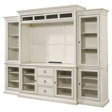 Showcasing 6 Glass Doors And Ample Interior Shelving, This Expansive Media  Center Offers Convenient Storage