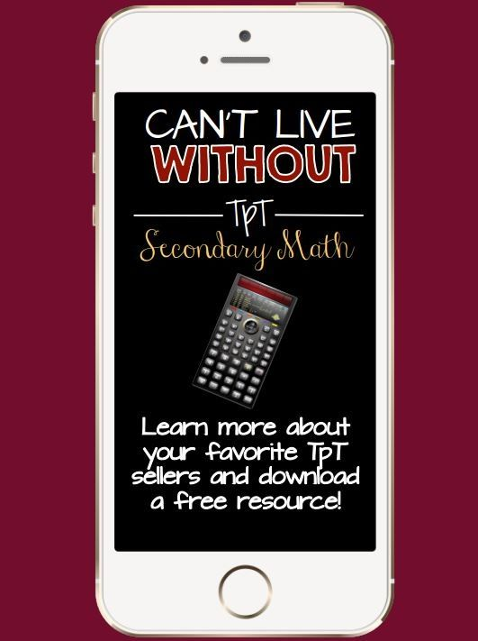 FREE Secondary Math e-Book!  It's filled with Teacher-Author profiles and print-and-teach resources from 30 TpT sellers who specialize in creating products for grades 6-12!